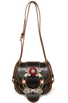 MIU MIU Dalia Embellished Textured-Leather Shoulder Bag. #miumiu #bags #shoulder bags #leather #