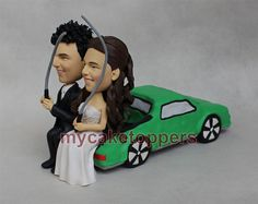 wedding cake topper,cake toppers,custom cake topper,funny wedding cake topper,custom sculpture,custom wedding cake topper fishing on truck by dealeasynet. Explore more products on http://dealeasynet.etsy.com