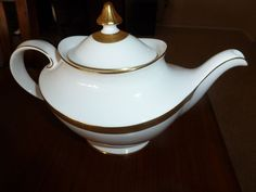 Vintage Royal Doulton gold on white china teapot