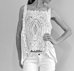 Düz beyaz atletin dantelli bluza dönüşü - Moda Tasarım, Nasıl Yapılır - Elizim