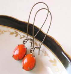Halloween Earrings Retro Milk Glass Pumpkin Orange by chouettes