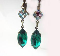 Emerald Swarovski Crystal Earrings Emerald by DiscoLemonadeDesigns, $24.99
