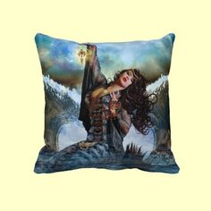 Sea Witch Magical Digital Art Decorative Throw Pillow. #SeaWitch #Witch #ThrowPillow