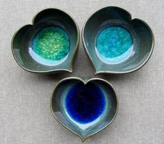 Green Ceramic Tiny Pot Heart Shape with Recycled Colored Glass: Valentine's Day, Ring Holders, Trinket Catchers Green Ceramic Tiny Pot Heart Shape with Recycled Colored Glass: Valentine's Day, Ring Holders, Tr Hand Built Pottery, Slab Pottery, Glazes For Pottery, Pottery Bowls, Ceramic Pottery, Glass Ceramic, Ceramic Bowls, Ceramic Art, Ceramics Projects