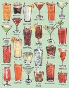 Retro cocktail art poster