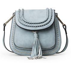 SheIn(sheinside) Braided Tassel Trimmed Studded Saddle Bag - Light... ($31) ❤ liked on Polyvore featuring bags, handbags, shoulder bags, tassel purse, vintage purses, vintage shoulder bag, studded handbags and light blue purse