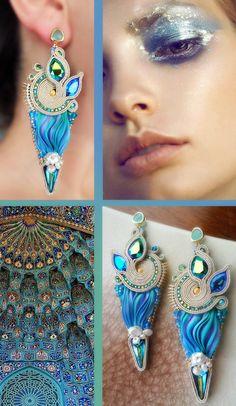 Earrings - Designed by Serena Di Mercione - Beadembroidery and Soutache - Shibori silk, Swarovski, pearls.