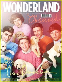 """management just thought.""""Let us seeee, we know pictures of the boys kills the fans' ovaries.but what is the only thing cuter than one direction? hmmmmm well puppies are pretty cute! ONE DIRECTION AND PUPPIES! One Direction Photoshoot, One Direction Pictures, I Love One Direction, Mtv, Wonderland, Cool Magazine, Magazine Covers, Magazine Images, Kawaii"""