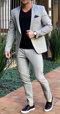Sneakers men fashion - Grey Smart Casual Street Men Suit for Wedding Suit Men Blazer Coat Jacket Party Prom Slim Fit Tuxedo Suit with Pants Custom Made Blazer Outfits Men, Mens Fashion Blazer, Suit Fashion, Men Blazer, Fashion Shirts, Casual Outfits, Trendy Mens Fashion, Fashionable Outfits, Dress Casual