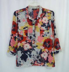 A.N.A Womens Sheer Multi-Color Floral ¾ Roll Tab Sleeve Pullover Blouse, SZ XL #ana #Blouse #CareerCasual