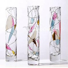glass painting on vase