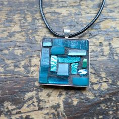 Teal Blue Mosaic Pendant by Margaret Almon of nutmegdesigns on Etsy