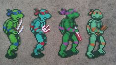 Leonardo, Raphael, Donatello, and Michelangelo sprites from TMNT II: The Arcade Game in perler beads.