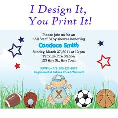 All star sports baby shower invitation custom digital you print jpg | ShorelineDesignz - Cards on ArtFire