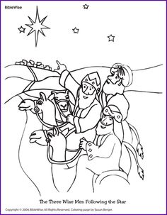 Coloring (The Three Wise Men Following the Star) - Kids Korner - BibleWise