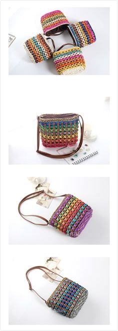 [$ 11.84]  Casual Straw Costrast Color Crossbody Bag Shoulder Bags Phone Bags Travel Bag