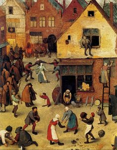 Pieter Bruegel the Elder, The Fight Between Carnival & Lent. (On board)