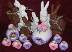 vintage Easter candy makers   cake pan. The inside view is done with royal icing and vintage easter ...