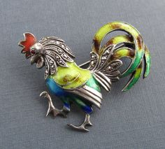 Antique Sterling And Enamel Rooster Pin Alice Caviness Marcasite Silver Brooch Jewelry Germany
