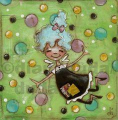 "Original Folk Art Painting on Canvas Panel   ""No Words, Just Bubbles:  ©dianeduda/dudadaze  $30.00"