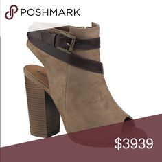 Taupe Peep Toe Buckle Booties The perfect booties for the spring and beyond. These booties are taupe, faux suede with a brown wrap buckle. They have trendy block heels. The NEW Boutique Shoes Ankle Boots & Booties