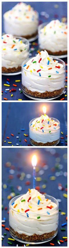 CAKE BATTER NO-BAKE CHEESECAKES