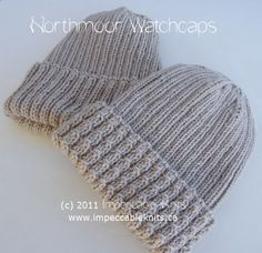 Northmoor Watchcaps - two versions   One plain and one reversible cabled brim.