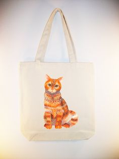 Lacy Cat -- (ARTIST OLA LIOLA) on 15x15 Canvas Tote with shoulder strap - larger zip top tote style and personalization available