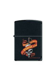 Marine Skull w Ribbon Zippo Lighter ! Buy Now at gorillasurplus.com