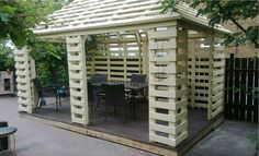 Pavilion Made From Recycled Pallets WP 20130710 002 Pallet pavillon in pallet garden pallet outdoor project with Pavilion pallet Garden Pallet Shed, Pallet Crates, Wooden Pallets, Garden Pallet, Pallet Pergola, Pallet Boards, Garden Bar, Pergola Kits, 1001 Pallets