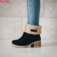 471908fbf Encontrar Más Botas de nieve Información acerca de FAMSO 2017 Nuevos Zapatos  de Las Mujeres Botas
