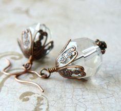 Clear Glass Earrings Large Clear Faceted Bead Dangles Antique Copper Filigree Vintage Inspired Earrings Victorian Style Jewelry