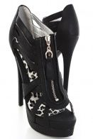 Black Faux Leather Strappy Open Tow Platform Heels $28.99