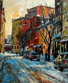 Rue Saint Paul, Quebec, by Raynald Leclerc/ Could do sunshine colors for adobe with snow.