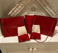 Ebay Advertisement 6 Piece Cartier Lot Necklace Pouch Bag Packaging Receipt Holder Box Pouch Bag Bag Packaging Jewelry Ring Box