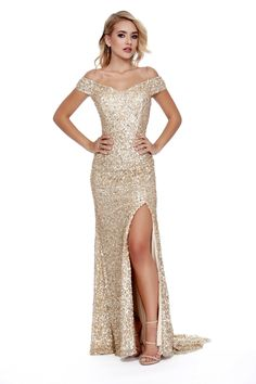 Off The shoulder Body Hugging Sequin Red Carpet Style Gold Prom Dress 12229 Gold Prom Dresses, Gold Sequin Dress, Designer Prom Dresses, Homecoming Dresses, Bridesmaid Dresses, Wedding Dresses, Long Gold Dress, Dress Prom, Make Up Braut