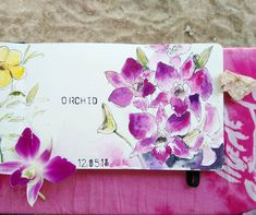 Pink and purple orchids  Wtercolor flower sketch in my Moleskine
