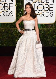 Salma Hayek Stuns On The Golden Globes Red Carpet