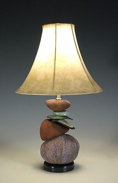 """Small Terra Cairn Lamp""  Ceramic Lamp, by Jan Jacque"
