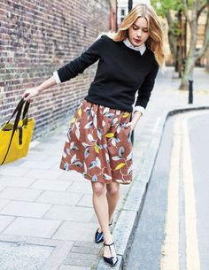 Millie Skirt from Boden...love it with these shoes and the fun yellow bag!