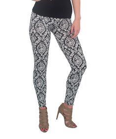 Another great find on #zulily! Black Brocade Leggings - Women & Plus #zulilyfinds