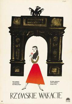 1959 Polish poster for Roman Holiday (William Wyler, USA, Artist: Jerzy Flisak Vintage Advertisements, Polish Movie Posters, Polish Posters, Movie Artwork, Holiday Poster, Movie Posters Vintage, Vintage Polish, Poster Design, Prints