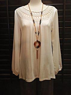 August Silk  - Cream tunic with crochet neckline and chiffon sleeves  - $60