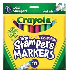 Crayola 10 Count Expressions Washable Mini-Stampers by Crayola. $5.92. Shapes let you express yourselves. Easy to use-just pull off the cap and stamp away. Convenient package in reusable tuck box. Made with Solar Energy. Fun filled shapes adds fun and excitement to projects and pictures. From the Manufacturer                Crayola 10ct Expressions Washable MiniStampers provides hours of creative coloring fun. Made in America. Fun filled shapes adds fun and excitement to ...