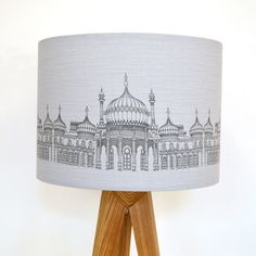 Pavilion Lampshade made from screen printed grey linen