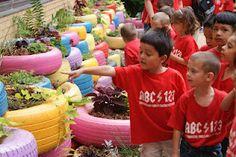 McGehee Garden: Pictures, student garden, tire garden, class project