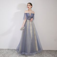 Elegant Sky Blue Evening Dresses 2019 A-Line / Princess Off-The-Shoulder Beading Lace Flower Sequins Short Sleeve Backless Floor-Length / Long Formal Dresses - moda Affordable Prom Dresses, Elegant Dresses, Pretty Dresses, Formal Dresses, Formal Wear, Tulle Prom Dress, Homecoming Dresses, Bridesmaid Dresses, Wedding Dresses