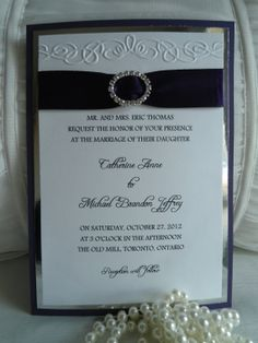 Rhinestone Wedding Invitations | Rhinestone Buckle Wedding Invitation - 5 x 7 with Embossed Scroll