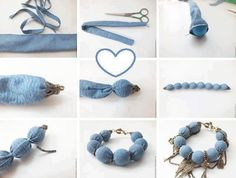 Old denim or a piece of old denim become a cute bracelet