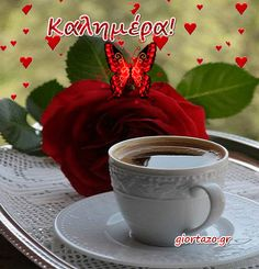 Cute Good Morning, Good Morning Wishes, Good Morning Quotes, Greek Language, Beautiful Pink Roses, Greek Quotes, Friday Gif, Imagenes De Amor